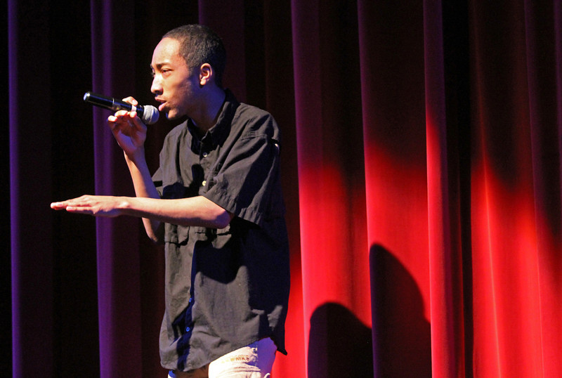 """. Leonard Oscar Irving-Thomas, 15, performs a spoken word piece as \""""Prodigy on da beat\"""" during Skyline\'s annual Black History Assembly at Skyline High School in Oakland, Calif. on Monday, Feb. 4, 2013.  (Laura A. Oda/Staff)"""