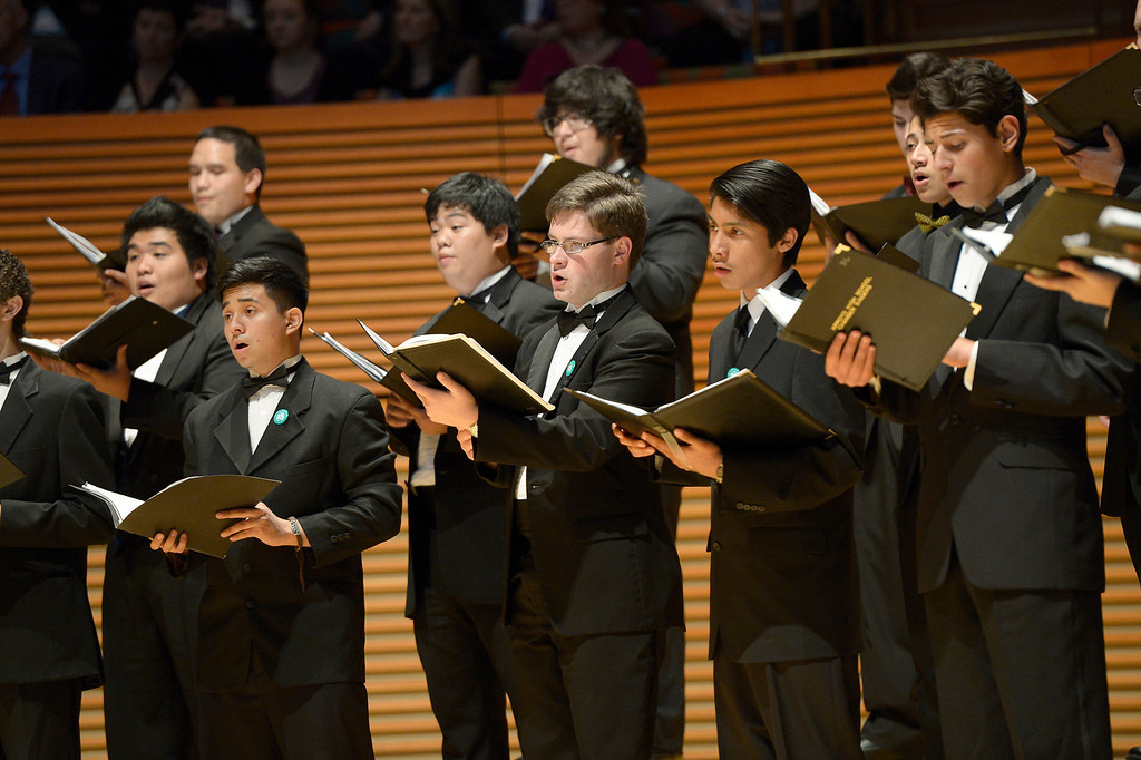 . Members of the Festival Honor choir sing. 1,000 students from 28 southland High Schools performed in the Los Angeles Master Chorale High School Choir Festival at the Walt Disney Concert Hall. Directed by Grant Gershon, the choir filled the hall with music from every angle. Los Angeles, CA. 5/2/2014(Photo by John McCoy / Los Angeles Daily News)