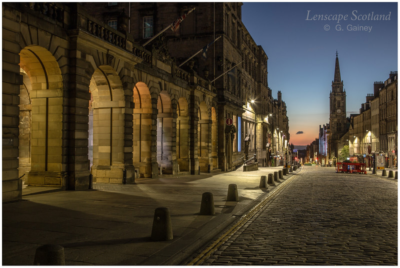 City Chambers arches and High Street in morning twilight