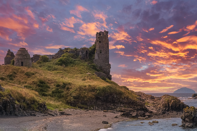 Dunure  castle Ruins and Rugged Coast Line late afternoon