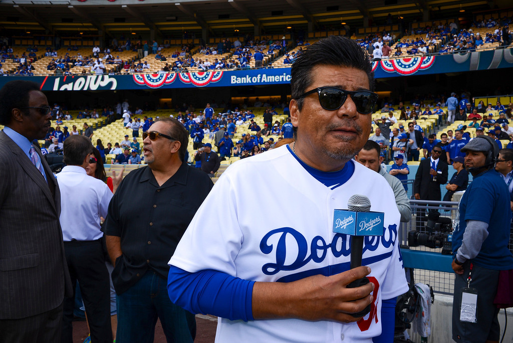 . George Lopez on hand for opening day at Dodger Stadium Monday.  Photo by David Crane/Los Angeles Daily News.