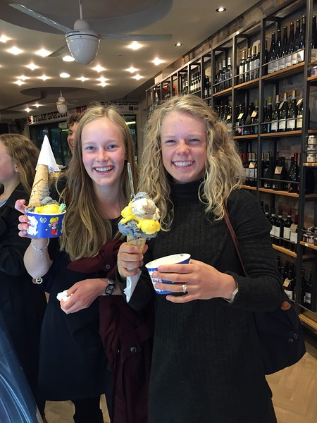 Abigael and Elsie enjoying the gelato in Sirmione