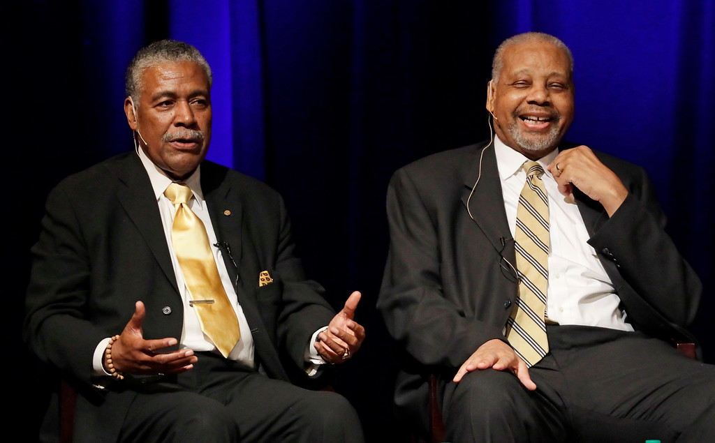 . FILE - In this Sept. 27, 2016 file photo, Godfrey Dillard, left, and Perry Wallace take part in a lecture at Vanderbilt University in Nashville, Tenn.  Wallace, who broke down a racial barrier by becoming the first black varsity basketball player in the Southeastern Conference, has died. He was 69. Wallace\'s death was announced Friday, Dec. 1, 2017,  by Vanderbilt University, where Wallace became an all-SEC player and remains among the Commodores\' all-time rebounding leaders. (AP Photo/Mark Humphrey, File)