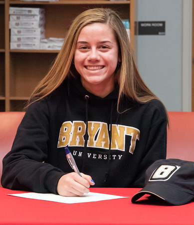 04/05/18 Wesley Bunnell   Staff Berlin High School student athlete Nikki Xiarhos signed her letter of intent on Thursday morning to join the Bryant University track team.