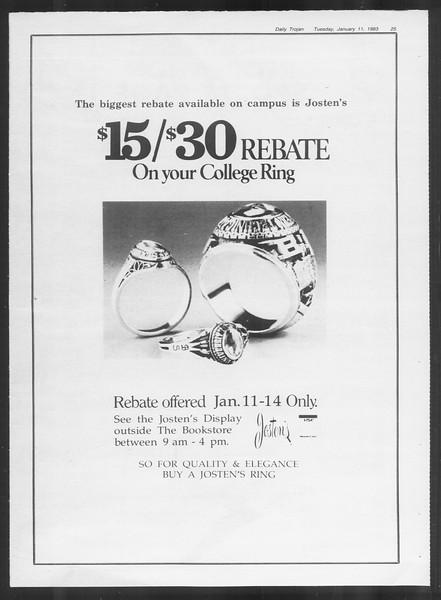 Daily Trojan, Vol. 93, No. 1, January 11, 1983