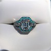 2.23ct Art Deco Emerald Cut and Turquoise Halo Ring 13