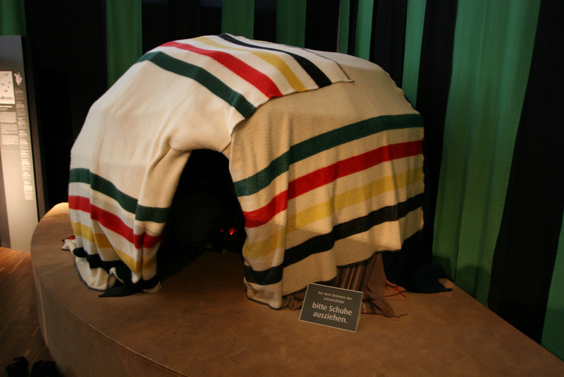 Who would've figured.  A native North American sweat-lodge made made of Hudson Bay Company blankets in a museum in Hamburg.