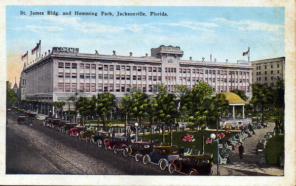 A postcard of Cohen Brothers department store looking down Hogan Street. State Archives of Florida, Florida Memory, http://floridamemory.com/items/show/159078