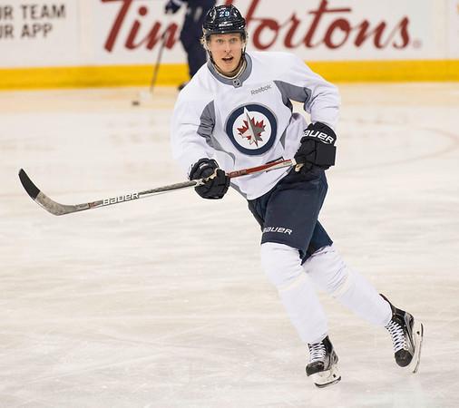 DAVID LIPNOWSKI / WINNIPEG FREE PRESS   Winnipeg Jets #29 Patrick Laine during practice at MTS Centre Sunday January 22, 2017.