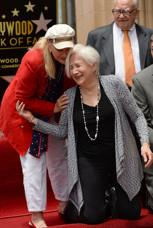 . HOLLYWOOD, CA - MAY 24:  Actress Olympia Dukakis (R) and actress Diane Ladd attend Olympia Dukakis being honored with the 2,498th Star on The Hollywood Walk Of Fame on May 24, 2013 in Hollywood, California.  (Photo by Mark Davis/Getty Images)