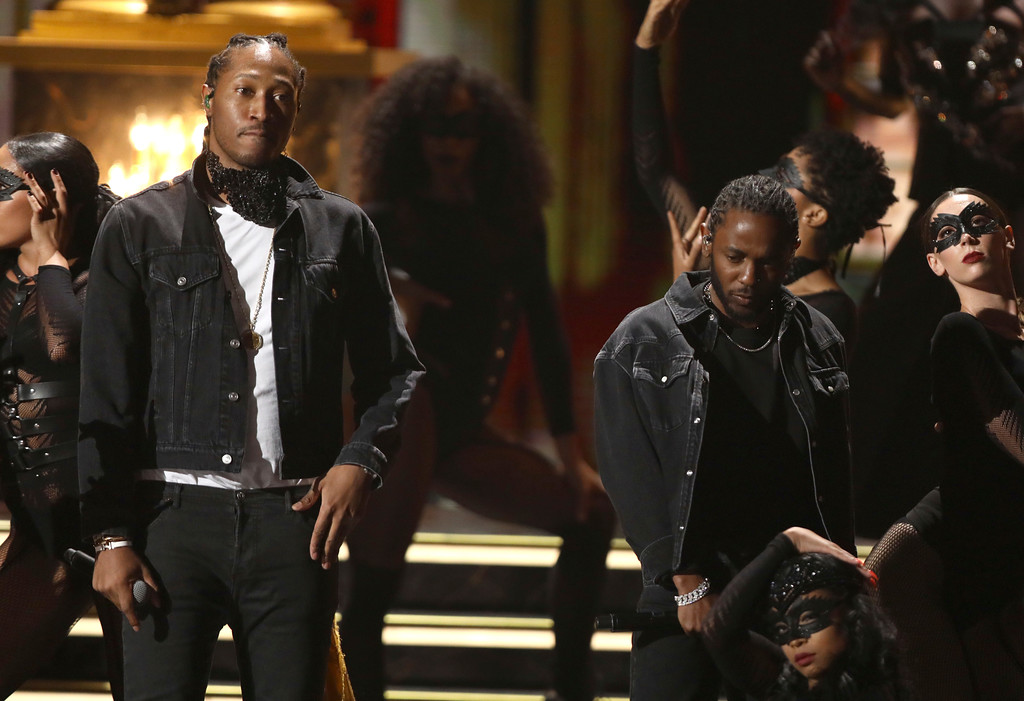 ". Future, left, and Kendrick Lamar perform ""Mask Off\"" at the BET Awards at the Microsoft Theater on Sunday, June 25, 2017, in Los Angeles. (Photo by Matt Sayles/Invision/AP)"
