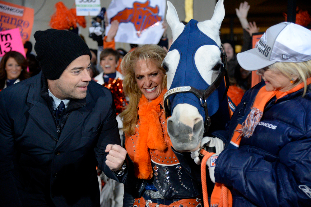 . Today Show Carson Daly visits with  Denver Broncos Cheerleaders along Annie Wegener and Sharon Magness Blake with Thunder, the Broncos� Arabian gelding mascot, made an appearance on the Today show on January 31, 2014 on a brisk morning. Annie Wegener will ride Thunder after touchdowns. (Photo by John Leyba/The Denver Post)