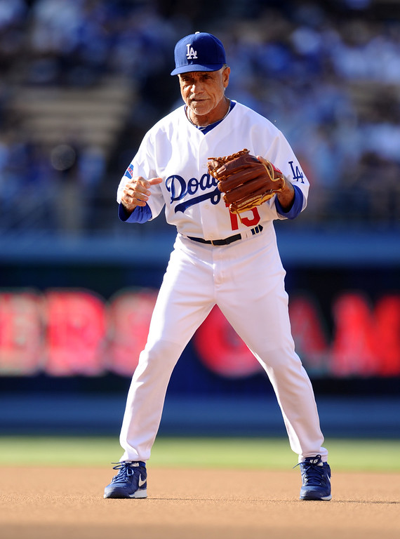 . Former Los Angeles Dodgers Davey Lopes during the Old-Timers game prior to a baseball game between the Atlanta Braves and the Los Angeles Dodgers on Saturday, June 8, 2013 in Los Angeles.   (Keith Birmingham/Pasadena Star-News)