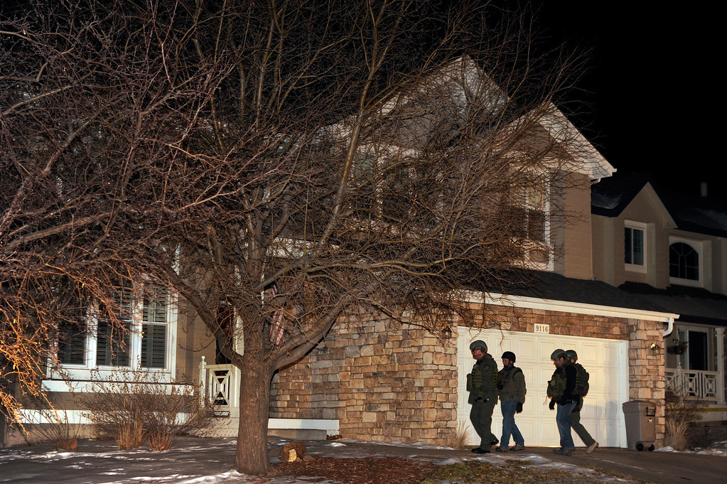 . HIGHLANDS RANCH, CO. - DECEMBER 13: Local and federal agents went into a home in Highlands Ranch connected to the Arapahoe High School shooting Friday night, December 13, 2013.  The house at 9116 S. Sugarstone Circle is where authorities believe Karl Pierson lived with his mother. (Photo By Karl Gehring/The Denver Post)