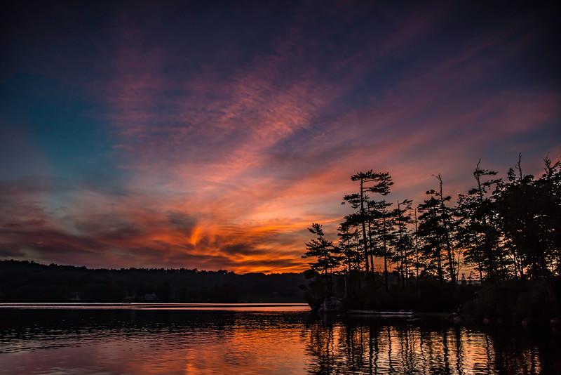 SUNSET AT DAMARISCOTTA LAKE
