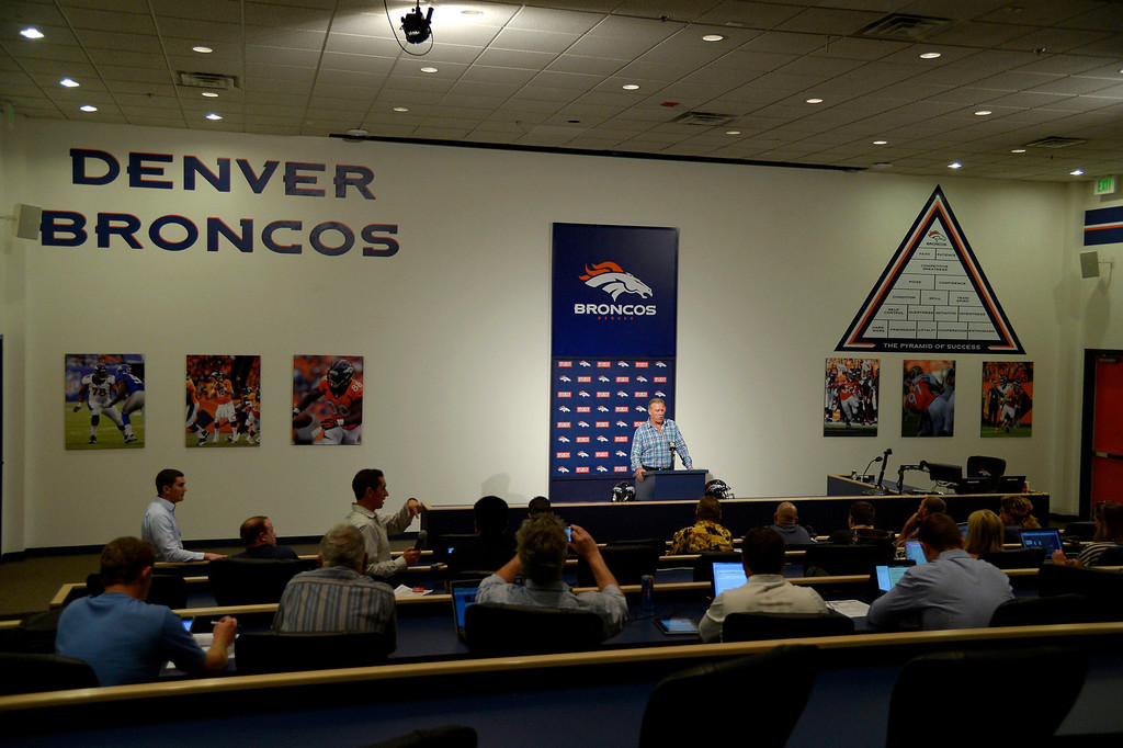 . Broncos General Manager and Executive Vice President of Football Operations John Elway discusses the draft on Monday, May 5, 2014 at Dove Valley. The draft begins on Thursday. (Photo by John Leyba/The Denver Post)