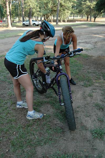 Kayla and Katie monkeying around with the Pugsley.