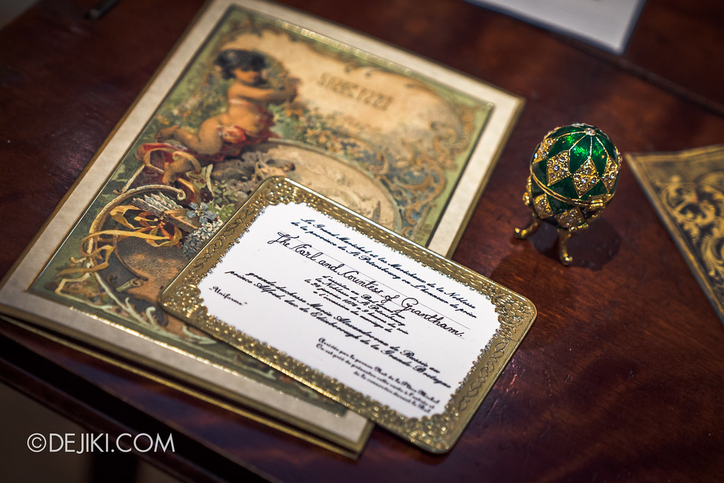Downton Abbey The Exhibition - Violet Crawley Countess Dowager, Invitation and Faberge Egg