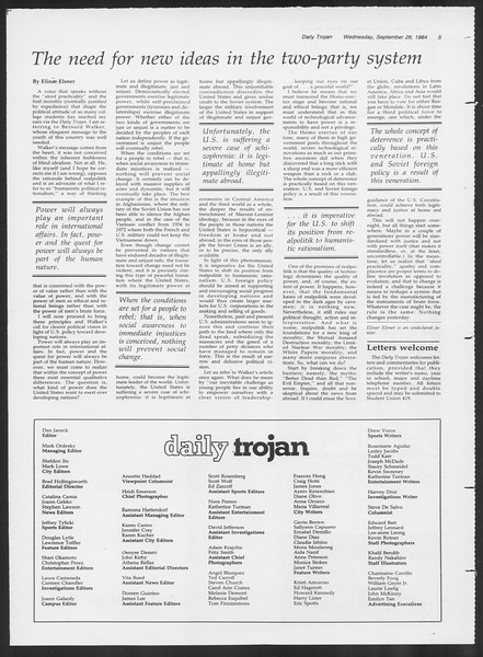 Daily Trojan, Vol. 97, No. 17, September 26, 1984