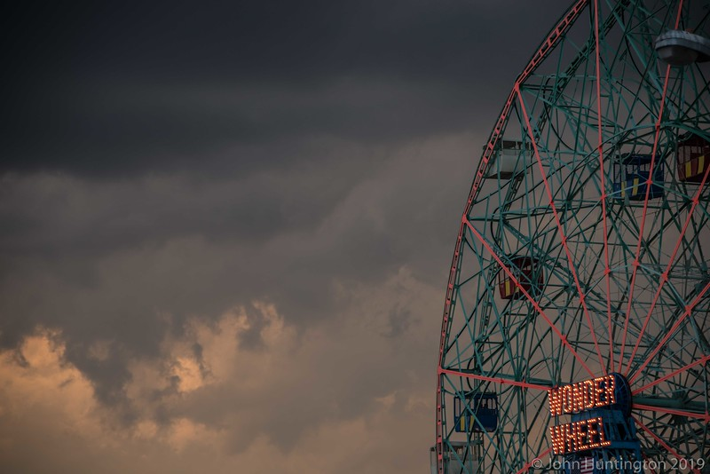 The Wonder Wheel at sunset in Coney Island.
