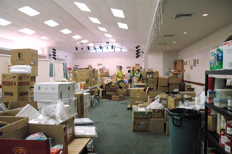 Fellowship Hall at Christus Victor Lutheran Church, Ocean Springs, Miss., has turned into a 24-hour food and supply distribution center.