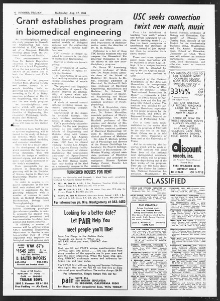 Summer Trojan, Vol. 17, No. 14, August 17, 1966