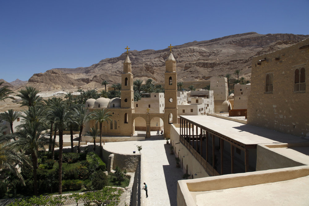 . A general view of the ancient monastery of St. Anthony, southeast of Cairo, Egypt. In a cave high in the desert mountains of eastern Egypt, the man said to be the father of monasticism took refuge from the temptations of the world some 17 centuries ago. The monks at the St. Anthony\'s Monastery bearing his name continue the ascetic tradition. But even they are not untouched by the turbulent times facing Egypt\'s Christians, defiantly vowing their community\'s voice won\'t be silenced amid Islamists\' rising power.  (AP Photo/Manoocher Deghati)