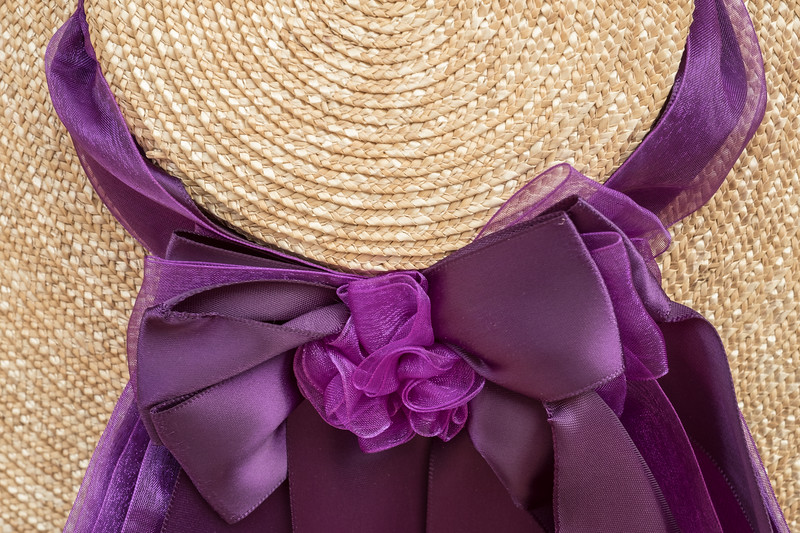 18th Century Style Colonial Hat and Ribbon detail in purple