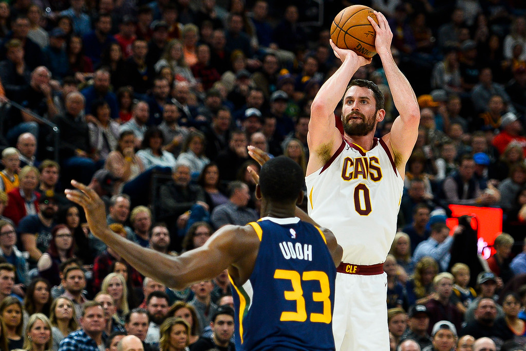 . Cleveland Cavaliers forward Kevin Love (0) shoots over Utah Jazz center Ekpe Udoh (33) in the first half of an NBA basketball game Saturday, Dec. 30, 2017, in Salt Lake City. (AP Photo/Alex Goodlett)
