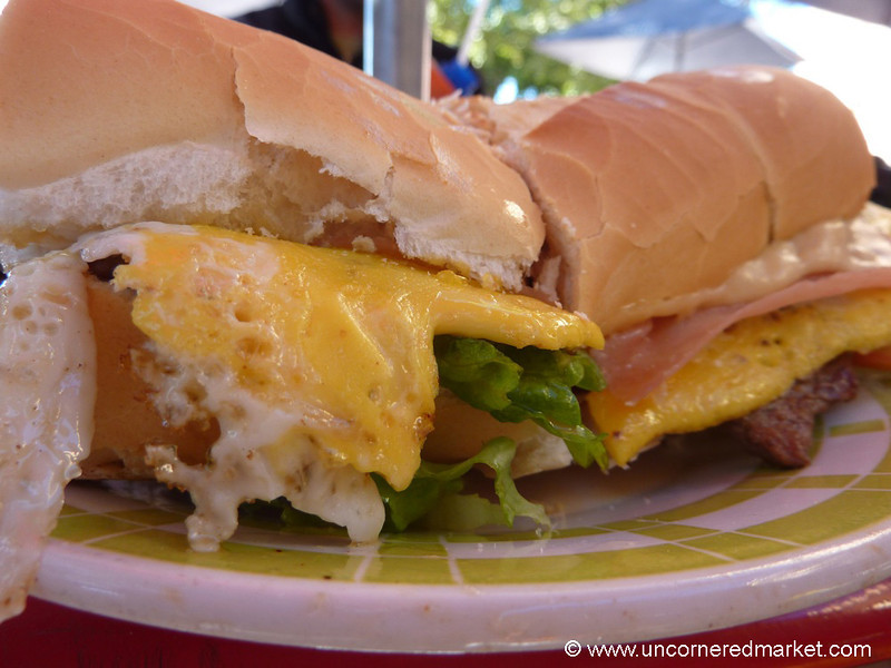 Steak and Egg Sandwich,  a Recipe for a Heart Attack - Cafayate, Argentina