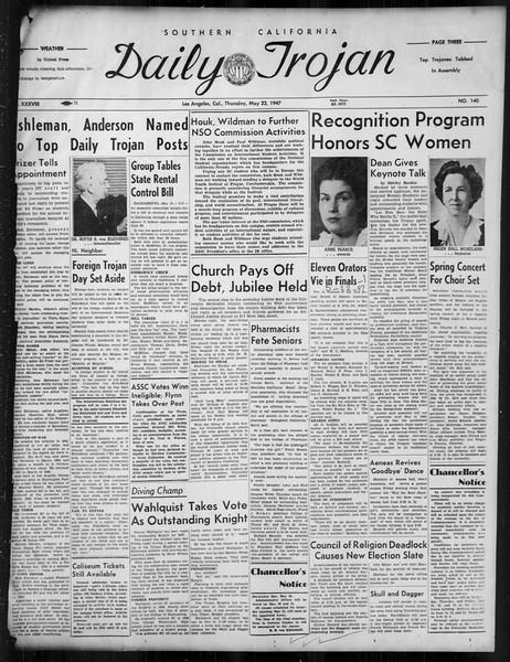 Daily Trojan, Vol. 38, No. 140, May 22, 1947