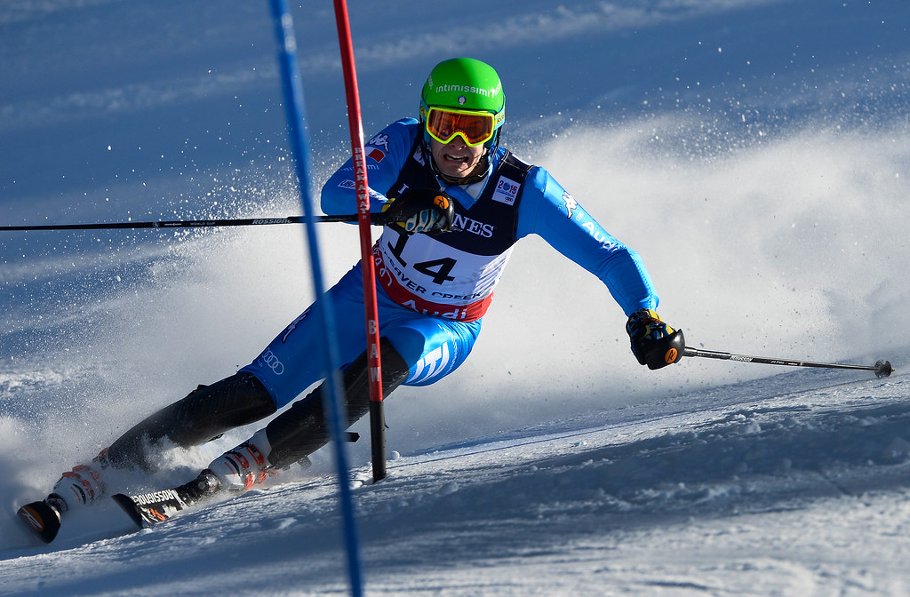 . BEAVER CREEK, CO - FEBRUARY 8: Dominik Paris of Italy runs the course at the Men\'s slalom portion of the Men\'s alpine combined race at the FIS Alpine World Ski Championships in Beaver Creek, CO. February 8, 2015. (Photo By Helen H. Richardson/The Denver Post)