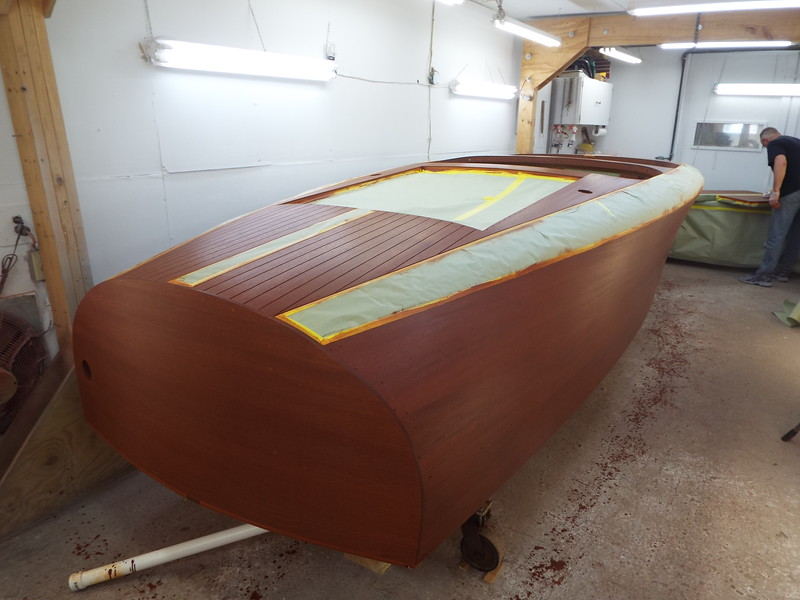 Rear starboard view with the second stain color applied.