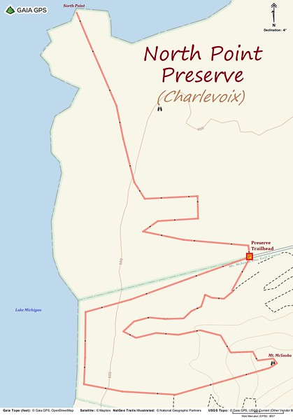 North Point Preserve Hike Route Map