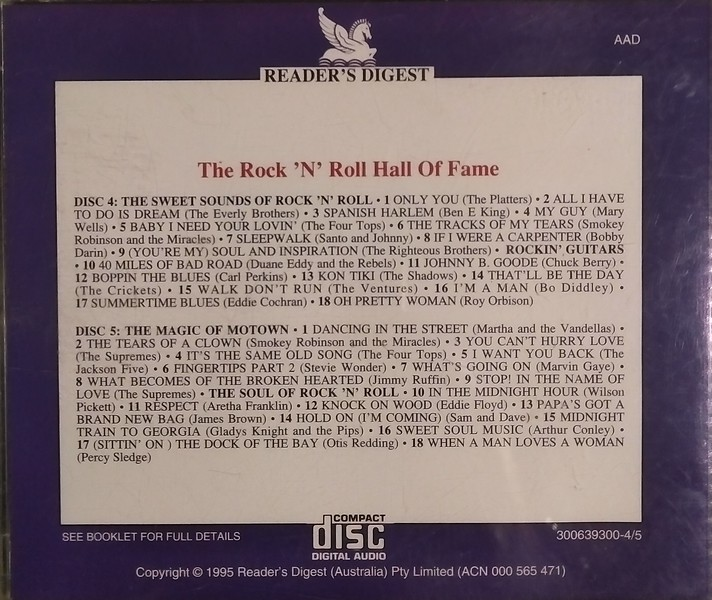 $20 (Sold as set of 5 Discs Only) Rock 'n' Roll Hall of Fame Discs 4 & 5 Back Cover
