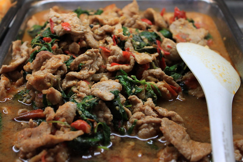 Pork with basil and chili