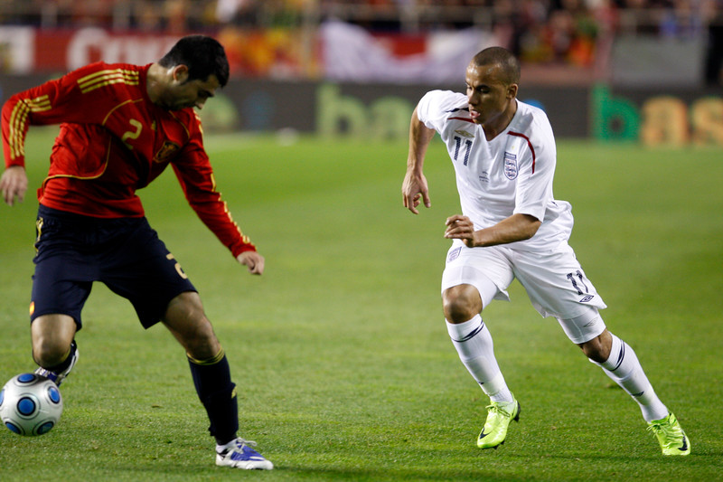 Raul Albiol (Spain) and Gabriel Agbonlahor (England) fighting the ball. Taken during the friendly football game between the national teams of Spain and England that took place in the Sanchez Pizjuan stadium, Seville, Spain, 11 Feb 2009.