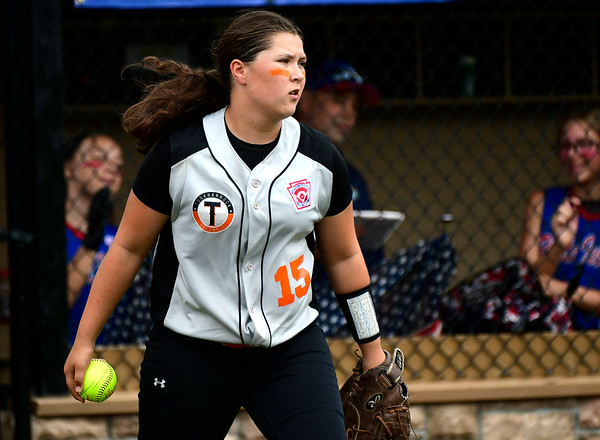 7/26/2018 Mike Orazzi | Staff PA's Paige Marabell (15) during a win over Rhode Island in the Little League Eastern Regional Softball Tournament at Breen Field in Bristol Thursday.