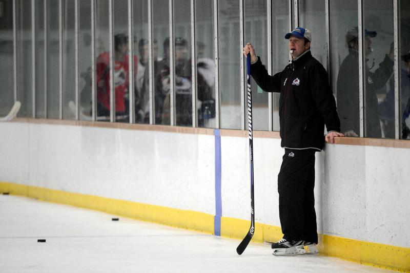 . Colorado Avalanche head coach Joe Sacco looks on during Wednesday, January 16, 2013 at Family Sports Center. John Leyba, The Denver Post
