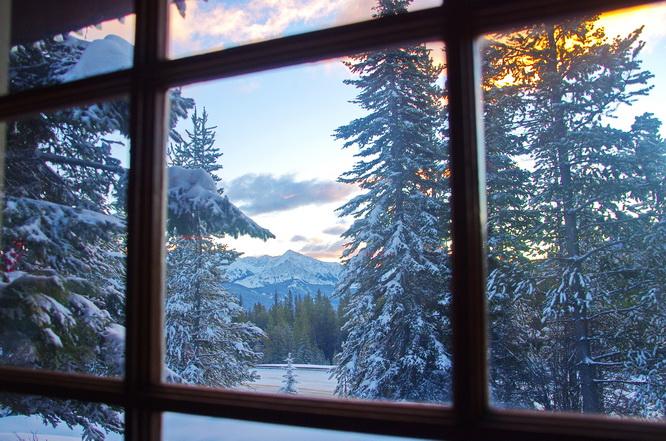 view outside a window of a snowy landscape