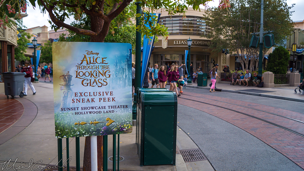 Disneyland Resort, Disney California Adventure, Buena, Vista, Street, Sunset, Showcase, Theater, Alice, Looking, Glass, Sneak, Peek, Sign