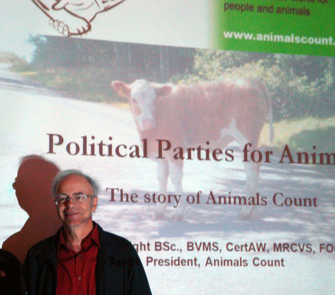 Prof Peter Singer. Finally, it was off to Newcastle, to the Minding Animals conference, where I gave 7 papers. Australian philosoper Peter Singer, author of 'Animal Liberation,' moderated this panel, where I spoke about Animals Count, our UK political party for people and animals. Prof Singer is one of our celebrity supporters.