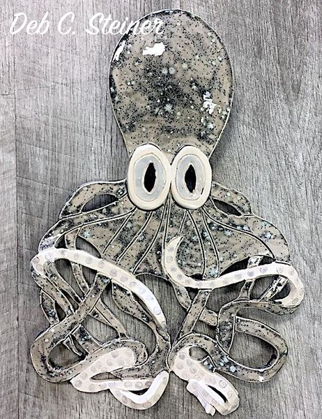 Ceramic Gray Octopus (Vertical) - Deb C. Steiner