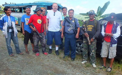 My Father with bodyguards in Curuan Philippines (12-21-2013)