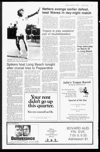 Daily Trojan, Vol. 67, No. 92, March 14, 1975