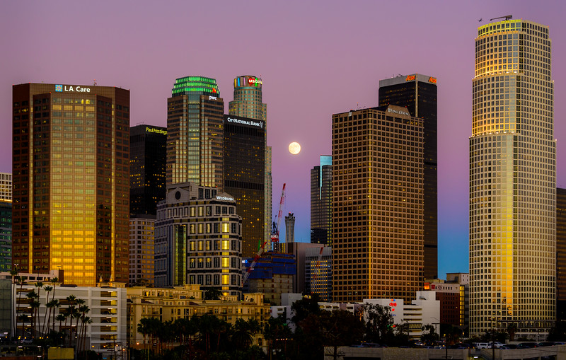 Downtown Los Angeles Moonrise, 2014