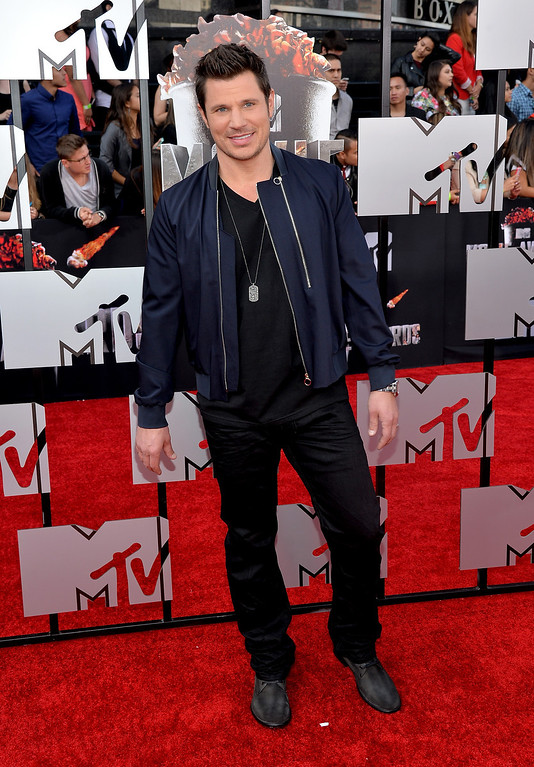 . TV personality Nick Lachey attends the 2014 MTV Movie Awards at Nokia Theatre L.A. Live on April 13, 2014 in Los Angeles, California.  (Photo by Michael Buckner/Getty Images)