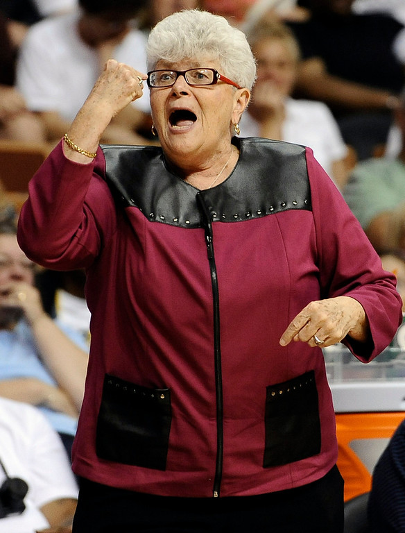 . East coach Lin Dunn, of the Indiana Fever, gestures during the first half. (AP Photo/Jessica Hill)
