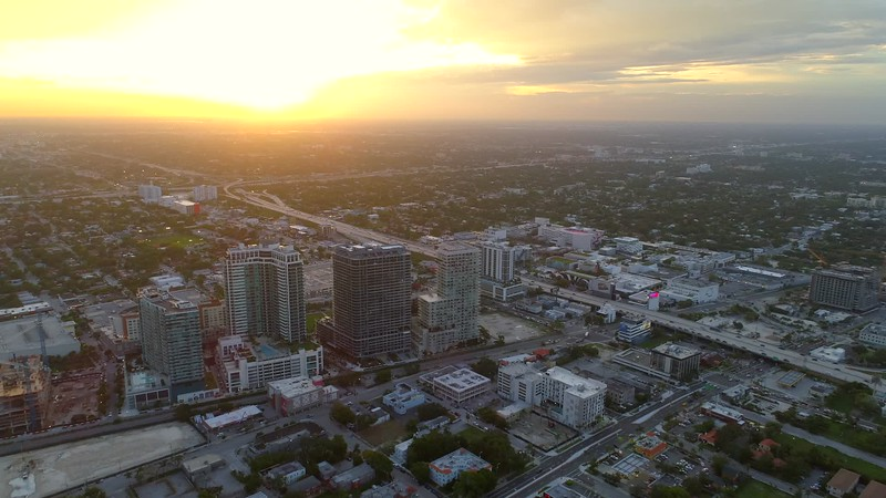 Aerial b roll sunset Miami Midtown city scene