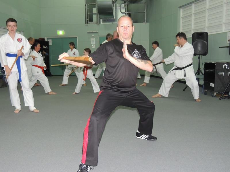 Grandmaster Angelo Demonstrates Classical Arnis Footwork Combat Karate, Noosa,Queensland February 2014